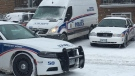 London police investigate a shooting and stabbing at 495 Cleveland Ave. in London, Ont. on Saturday, Jan. 19, 2018. (Brent Lale / CTV London)