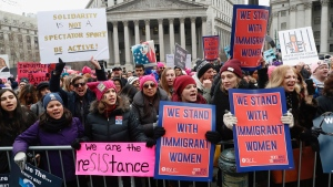 Participants take part in a Women's rally in lower Manhattan on Saturday, Jan. 19, 2019 in New York.