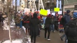 Hundreds of people attended the annual women's rights march in downtown Calgary on January 19, 2019.
