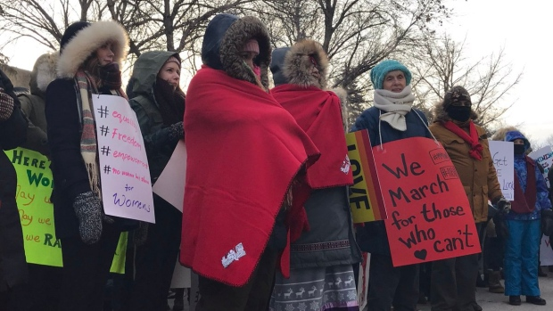 Hundreds marched for Missing and Murdered Indigenous Women and Girls in Regina on Saturday (Stefanie Davis / CTV Regina)