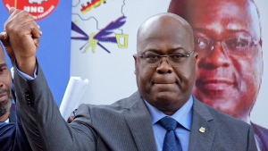 This Nov. 23, 2018, file photo shows Felix Tshisekedi of Congo's Union for Democracy and Social Progress opposition party, at a press conference in Nairobi, Kenya. (AP Photo/Ben Curtis, File)