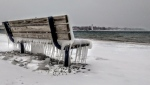 Icicles hang from a bench on the shore of Lake Huron in the Sarnia, Ont., area on Saturday, Jan. 19, 2019. (MyNews)
