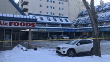 Several Edmonton police vehicles were seen at a business and apartment complex in the city's Ermineskin neighbourhood.