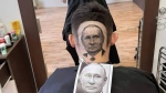 Barber Mario Hvala created this portrait of Russian President Vladimir Putin in a man's hair. (Mario Hvala via Storyful)