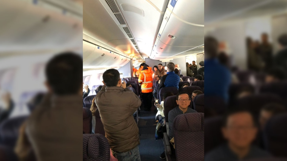 A plane full of passengers was grounded in Labrador for more than 16 hours on Jan. 20, 2019. (Source: Twitter, sonjaydutterson)