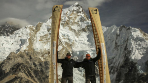 Brothers Kyle Roberts and Tom Schellenberg arrived at Mount Everest base camp after 18 days of trekking with canoes on their backs. (Source: The Weight We Carry, Facebook)