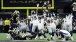 Los Angeles Rams kicker Greg Zuerlein kicks the game-winning field goal in overtime of the NFL football NFC championship game against the New Orleans Saints, Sunday, Jan. 20, 2019, in New Orleans. (AP Photo/David J. Phillip)