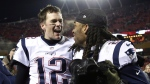 New England Patriots quarterback Tom Brady (12) celebrates with cornerback Stephon Gilmore (24) after defeating the Kansas City Chiefs in the AFC Championship NFL football game, Sunday, Jan. 20, 2019, in Kansas City, Mo. (AP Photo/Jeff Roberson)