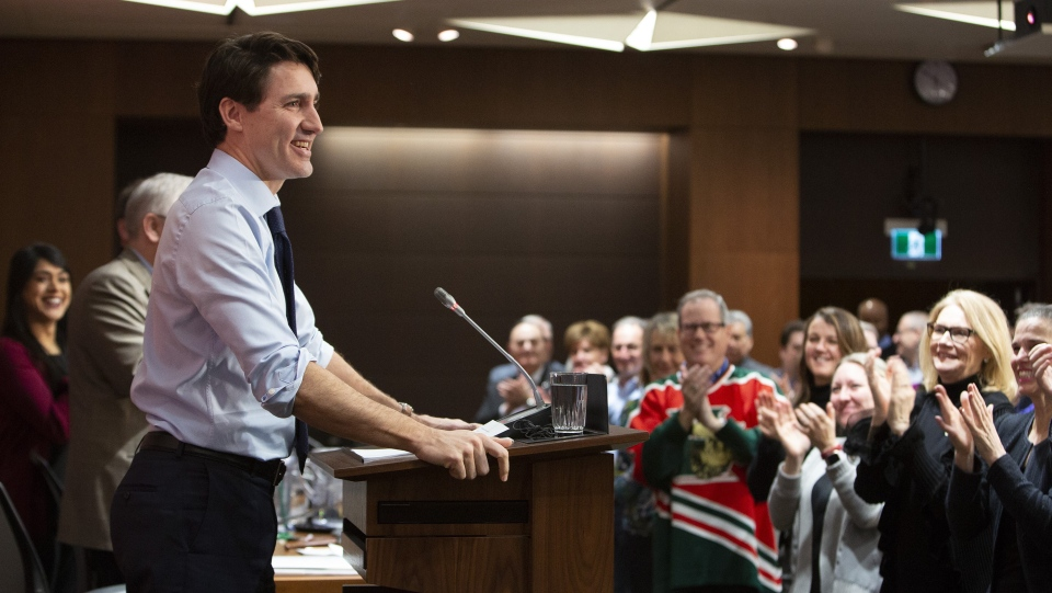Prime Minister Justin Trudeau addresses a meeting with caucus on Parliament Hill in Ottawa on Sunday, Jan. 20, 2019. (THE CANADIAN PRESS/Fred Chartrand)