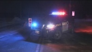 An OPP vehicle blocks Horseshoe Valley Road West for a police investigation on Sun., Jan 20, 2019 (CTV News)