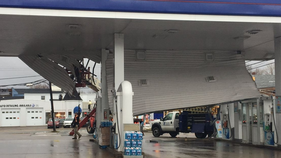 Strong winds during a winter storm caused significant damage to the canopy of the Irving gas station on George Street in Sydney.