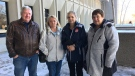 From left, Glen Struthers, Jan Pigeau, Lynn Pigeau and Judy Struthers, who are all there to support the family of Adam Kargus, stand outside the courthouse in London, Ont. on Monday, Jan. 21, 2019. (Brent Lale / CTV London)