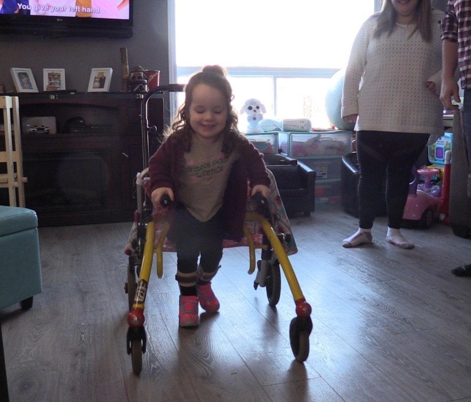 Natalie Ouelette, who has cerebral palsy and is hoping for surgery to help her walk, is seen at home in St. Thomas, Ont. on Monday, Jan. 21, 2019. (Celine Moreau / CTV London)