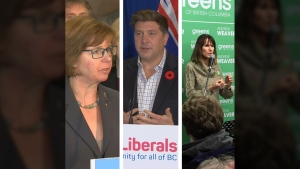 NDP candidate Sheila Malcolmson, Liberal candidate Tony Harris and Green candidate Michele Ney will participate in a byelection debate in Nanaimo Monday, Jan. 21, 2019.