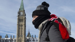 A man makes his way onto Parliament Hill Monday January 21, 2019 in Ottawa. THE CANADIAN PRESS/Adrian Wyld