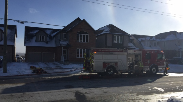 Barrie firefighters contend with cold while battling blaze