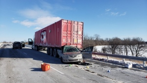 OPP were called to the crash on Highway 401 near Tilbury, Ont., on Monday, Jan. 21, 2019. ( photo supplied by OPP )