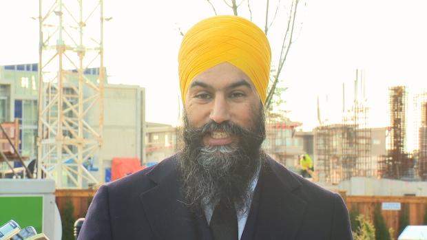 Jagmeet Singh speaks with the media in southern Burnaby.
