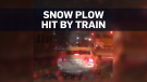 Caught on cam: Train rips through snow plow