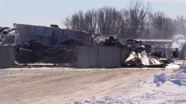 Damage after a fire on a farm between St. Marys and Exeter, Ont. is seen on Monday, Jan. 21, 2019. (Scott Miller / CTV London)