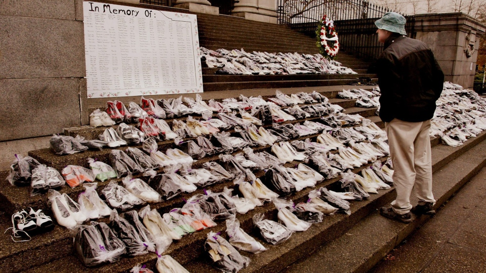 A passerby stops to read the names of women, part of a display with almost 500 pairs of women's shoes that cover the steps of the Vancouver Art Gallery Monday Dec .6, 2004. A group responsible for the display says the shoes are a reminder of B.C. women killed by domestic violence. (CP PHOTO/Chuck Stoody)