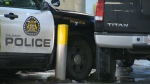An unmarked CPS unit in the SAIT parkade  blocks the path of a CPS cruiser that had been stolen on January 21, 2019