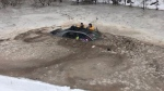 A mother and her daughter are OK after their vehicle left the road and landed in an icy pond near Hantsport, N.S. (Ryan Richard)