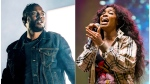 """This combination photo shows Kendrick Lamar, left, and SZA, whose song """"All the Stars,"""" from """"Black Panther"""" was nominated for best original song at the Academy Awards. (AP Photo)"""