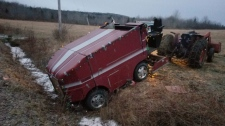 A Zamboni that got stuck in a ditch during an overnight storm in Nova Scotia is shown in a handout photo provided by Jake Ross. Ross found the Zamboni in a ditch near his home on Monday. (THE CANADIAN PRESS/HO-Jake Ross)