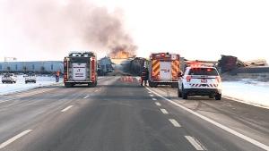CN train on fire after derailment in Sask.CN train