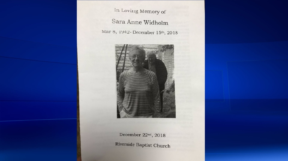 Sara Anne Widholm is remembered at her funeral in Windsor, Ont., on Saturday, Dec. 22, 2018. (Courtesy Riverside Baptist Church)