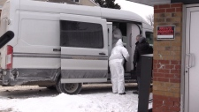 A forensic unit arrives at Matthew Way in Collingwood, Ont. on Tuesday, Jan. 22, 2019 (CTV News/Roger Klein)