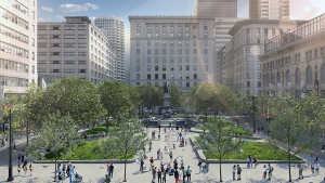 An artist's rendition of what Phillips Square will look like after a $50 million renovation project.