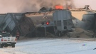 Train derails, catches fire on Hwy 11
