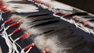 Eagle feathers are shown during a RCMP press conference in Winnipeg on Tuesday, Jan. 22, 2019. THE CANADIAN PRESS/Kelly Malone