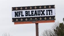 A billboard protesting a controversial call