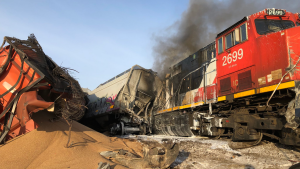 Firefighters and a local RCMP detachment are still attempting to put out a diesel fire, after a train derailed just north of Saskatoon earlier this morning. (Warman Fire Rescue / Twitter)