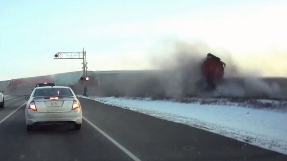 Dashboard camera footage has captured the moment a train derailed outside Saskatoon. (Submitted)