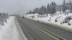An image from a DriveBC traffic camera shows a snowy section of Highway 5 near the Coquihalla Lakes area on Tuesday, Jan. 22, 2019.