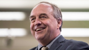 In this file image, B.C. Green Party Leader Andrew Weaver smiles while speaking about the provincial government's CleanBC plan aimed at reducing climate pollution, during an announcement in Vancouver, on Wednesday December 5, 2018. (THE CANADIAN PRESS/Darryl Dyck)