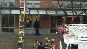 A still image from video submitted to CTV News shows a woman on an awning in Vancouver on Tuesday morning, Jan. 22, 2019. (Angela Popa)