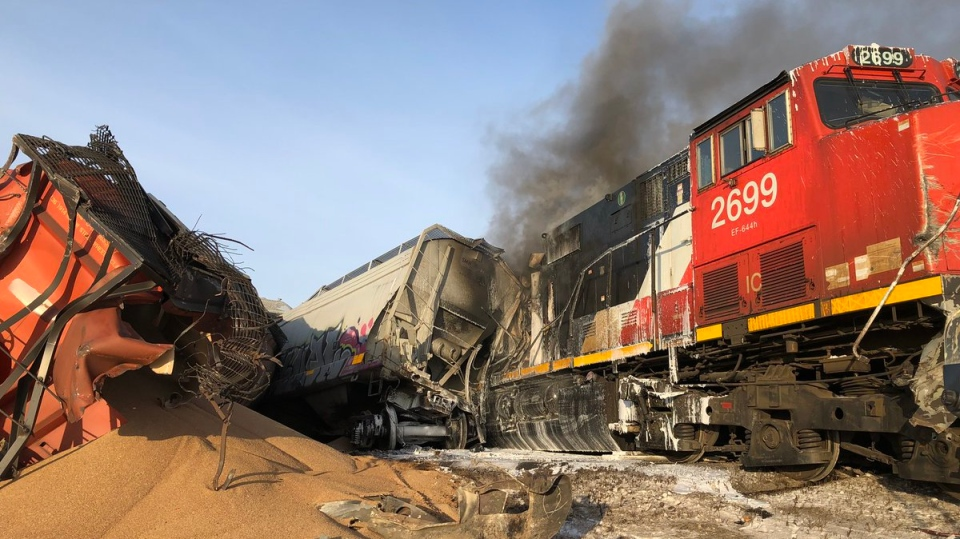 Thirty cars derailed on a CN train near Warman on Tuesday. (Warman Fire Department/Twitter)