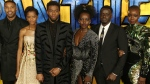 "FILE - In this Feb. 8, 2018 file photo, actors Michael B. Jordan, Leitia Wright, Chadwick Boseman, Lupita Nyong'o, Daniel Kaluuya and Danai Gurira pose for photographers upon arrival at the premiere of the film ""Black Panther"" in London. (Photo by Joel C Ryan/Invision/AP, File)"