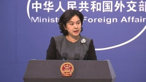 Chinese Foreign Ministry spokesperson Hua Chunying speaks to reporters on Tuesday, Jan. 22, 2019. (The Associated Press)