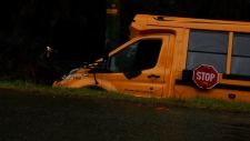 School bus crashes into ditch