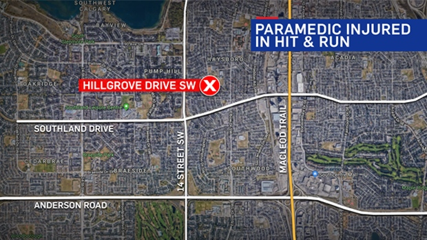 An EMS member was struck by a vehicle on Hillgrove Drive SW on Tuesday evening