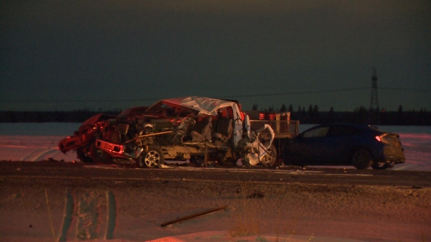 Two people are in hospital after a five-vehicle crash south of Edmonton Tuesday, Jan. 22, 2019.