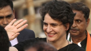 In this Thursday, Feb. 16, 2017, file photo, Priyanka Gandhi Vadra, sister of Congress party President Rahul Gandhi, waves to party supporters during an election campaign rally in Rae Barelli in the northern Indian state of Uttar Pradesh, India. (AP Photo/Rajesh Kumar Singh, file)