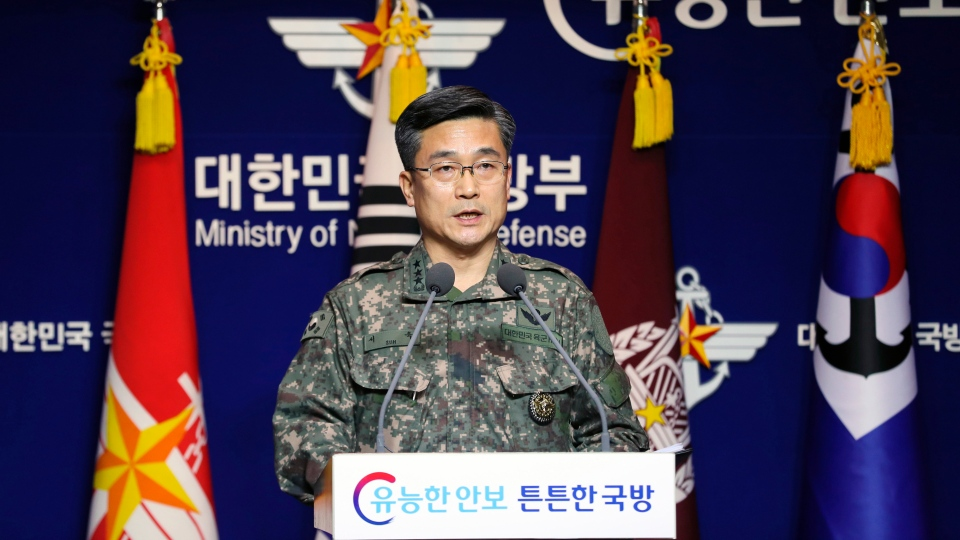 Suh Wook, chief director of operations at the South Korea's Joint Chiefs of Staff, speaks during a press conference at the Defense Ministry in Seoul, South Korea, Wednesday, Jan. 23, 2019. (Lee Ji-eun/Yonhap via AP)