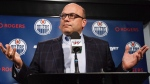 Edmonton Oilers general manager Peter Chiarelli speaks to the media, on April 10, 2016. (Codie McLachlan / THE CANADIAN PRESS)